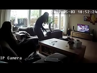 Changing in front of her little sister (hacked IP cam) For Full video sign up at..