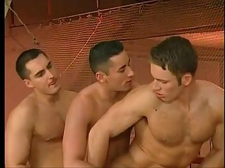 Gymnastic loving muscled studs threesome tight holes filling