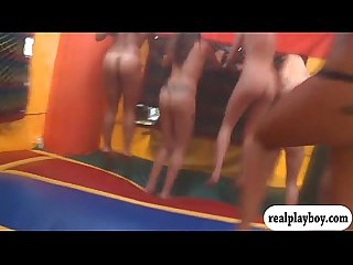 Girls paid to jump in a trampoline naked