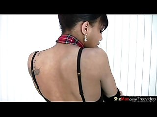 Ebony T-girl with big lips gets her black cock jerked in POV