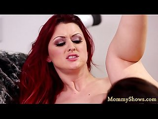 Orally pleasured stepmom plays with teen