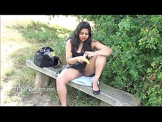 Indian amateur Kikis public nudity and outdoor masturbation of chubby oriental f