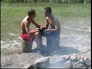 Close gay friends get a strong belly itch outdoors