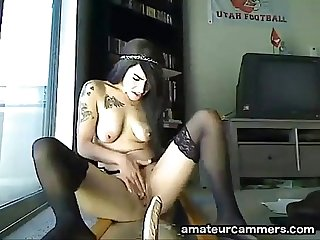 Emo Girl Ridding Dildo and Squirt - http://amateurcammers.com