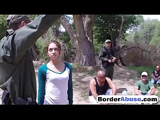 Brunette caught at border blowjob fuck outdoors