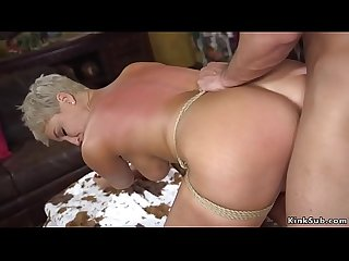 Busty Milf in bondage banged and cummed