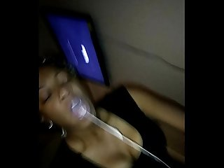 Ebony Milf Slut Vomit & Puking Milk on BBC